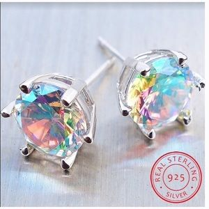 Jewelry - 925 Sterling Silver Rainbow Topaz Stud Earrings.